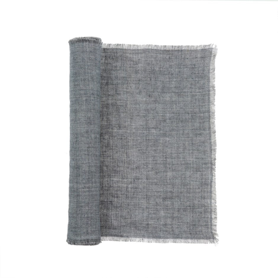 Steel Grey Linen Runner