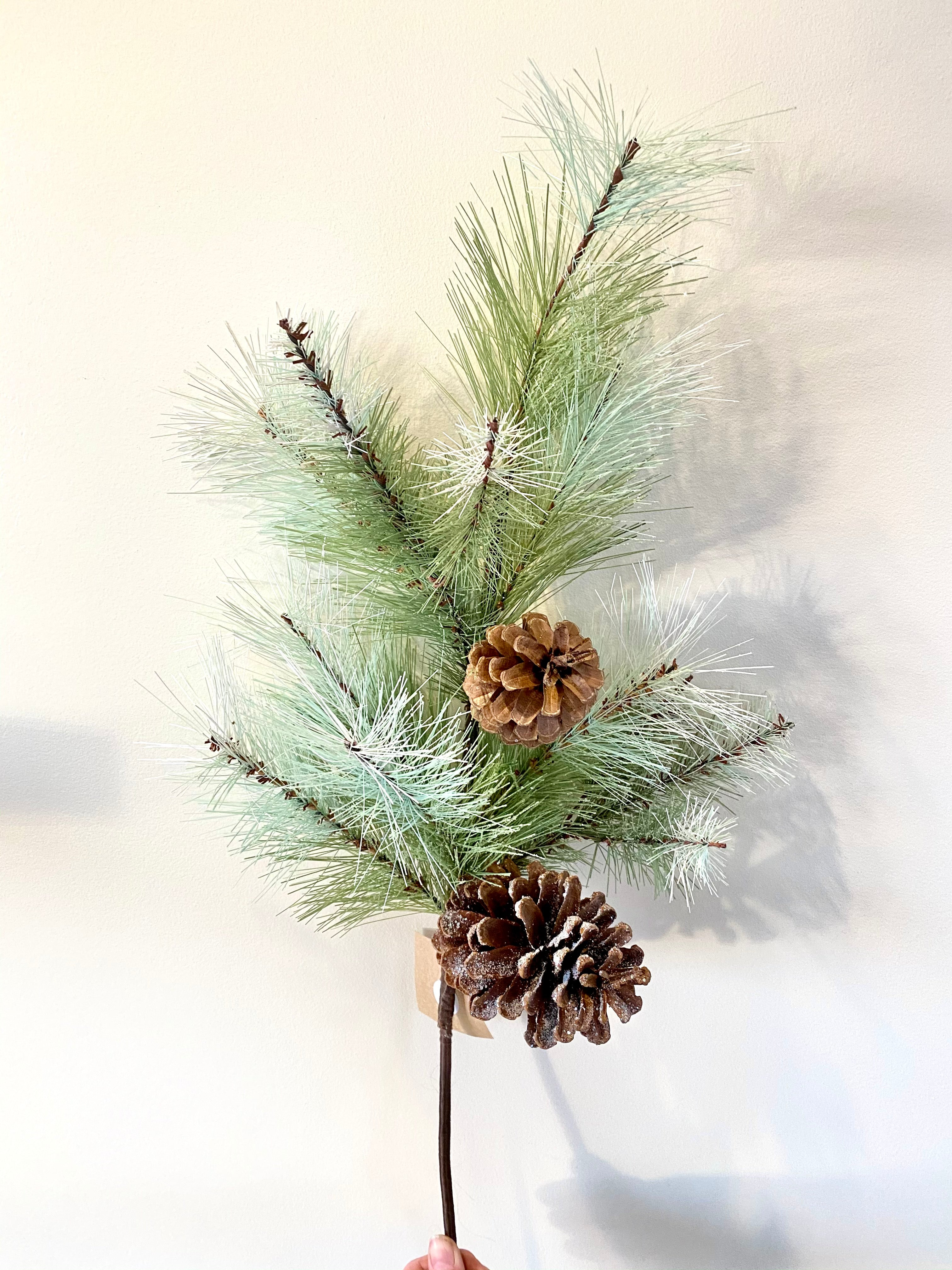 Frosted Glitter Pine Pick with Pine Cones