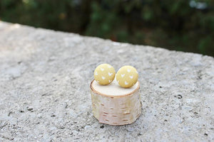 Vintage Acorn Button Stud Earrings
