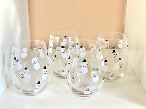 Snowmen stemless wine glass