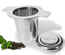 An angled profile of a Teablee Tea Strainer for Loose Tea