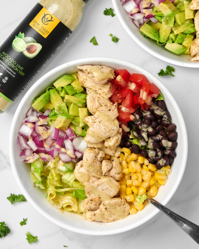 Burrito Bowl with Avocado Lime Dressing