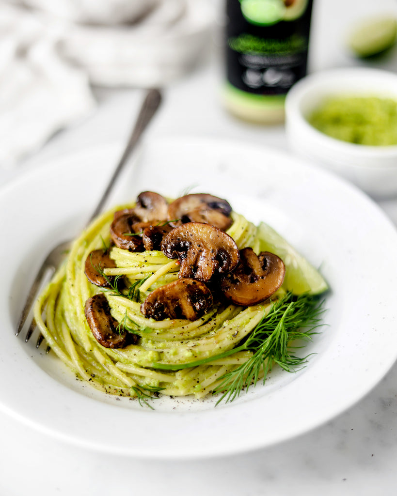 Avocado Pasta with Sautéed Mushrooms