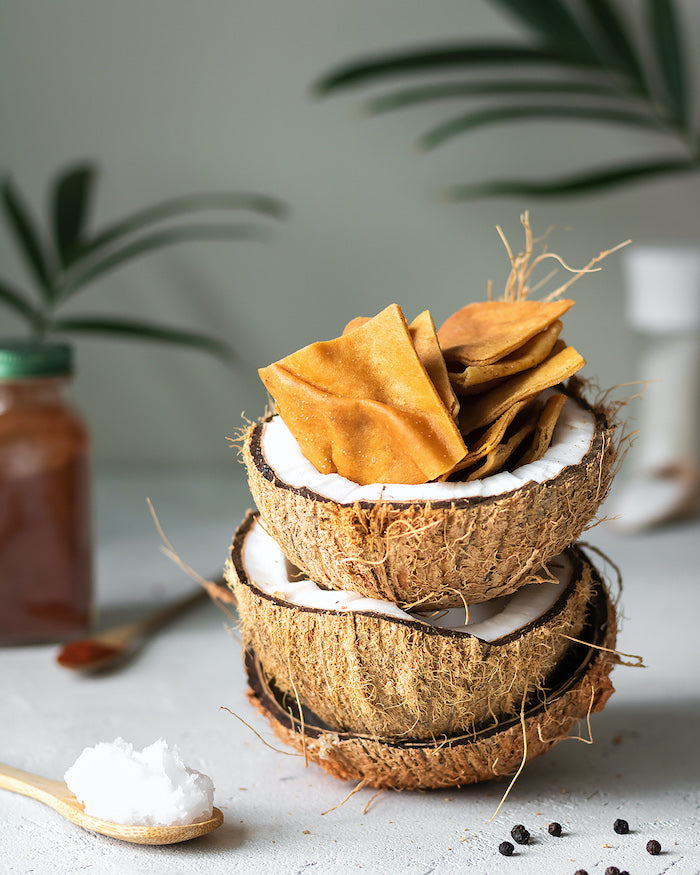 pita chips inside a coconut