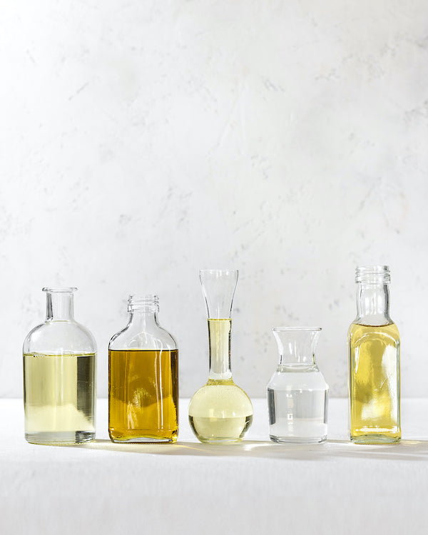 different oils in a line
