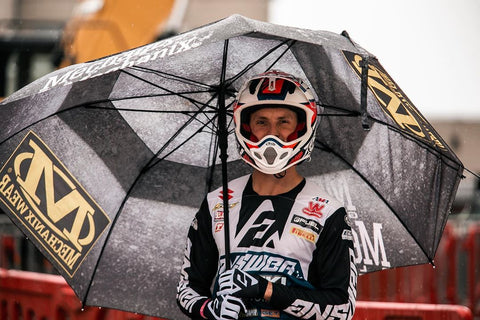 Freddie Noren trying to stay dry in Salt Lake City.