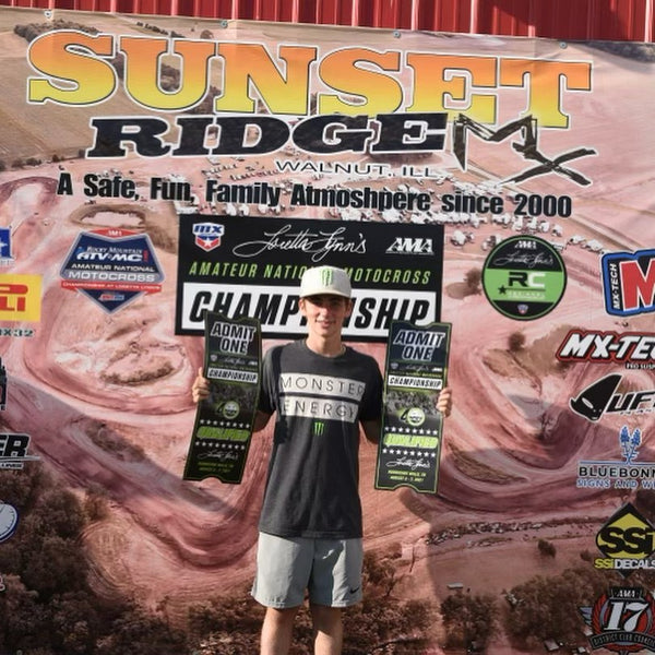#TeamEVS athlete Leo Tucker rocking his tickets after securing his trip to the 2021 Loretta Lynn's Amateur National Motocross Championship!