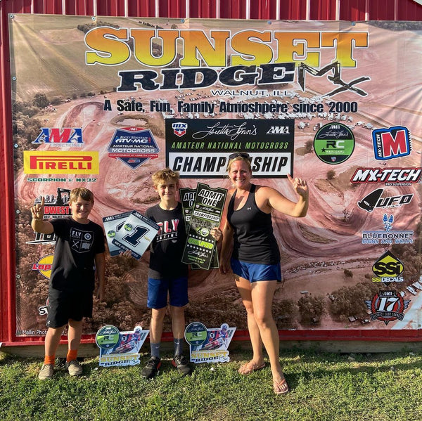 #TeamEVS athlete Caden Dudney and his family celebrating after securing a trip to the ranch for the 2021 Loretta Lynn's Amateur National Motocross Championship!