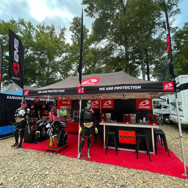 The EVS Sports booth at the 2021 Loretta Lynn's Amateur National Motocross Championships