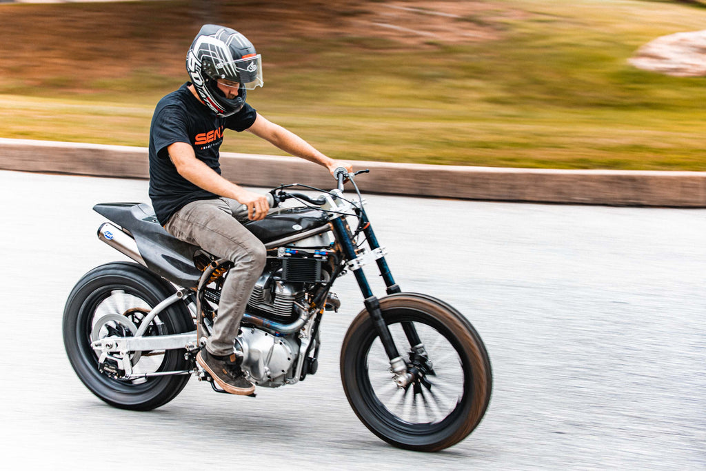 Johnny taking the concept race bike for a spin for the very first time.