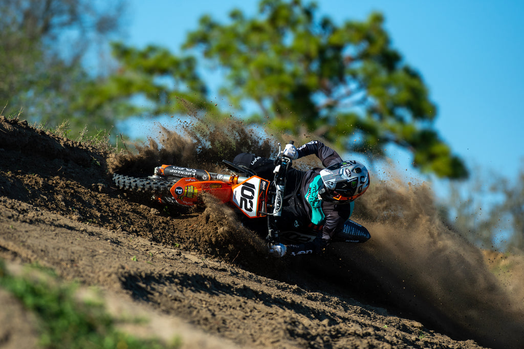 Jack Chambers lighting up a berm at the EVS Sports/Rides Unlimited Team Photo shoot.