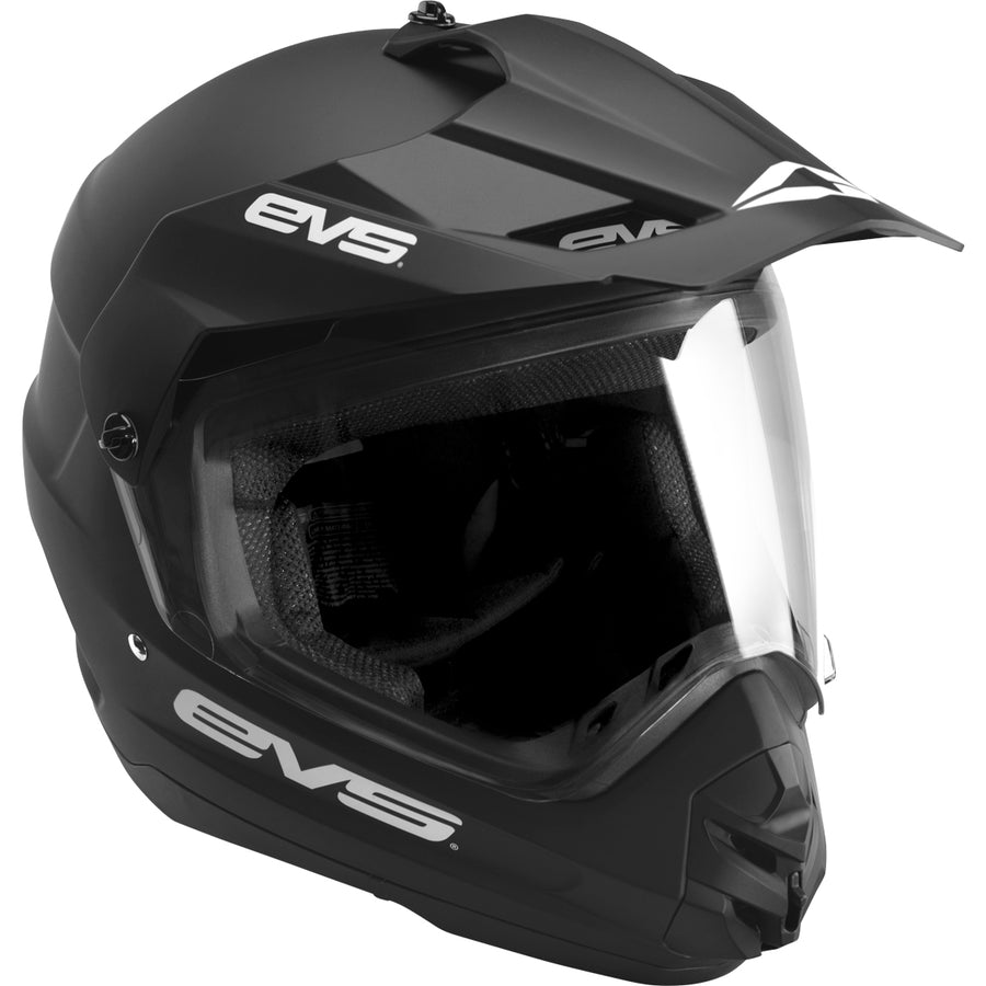 T5 Dual Sport Helmet - Venture Solid Black - EVS Sports - Motocross Protection Gear