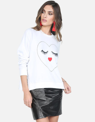 Tiana White Glam Heart Face Sweatshirt with Side Zippers