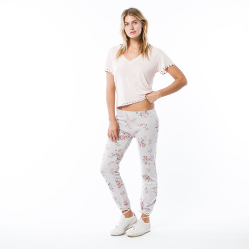 Floral Print Light Olive Elastic Waist Sweatpants