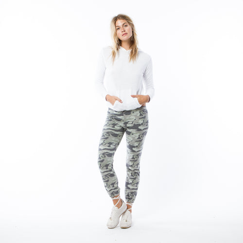 Light Olive Camo Elastic Waist Pants