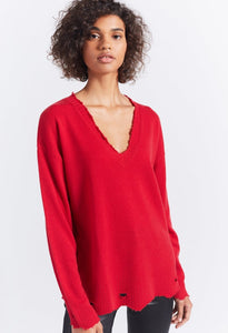Horseguard Red Destroyed Cashmere Sweater