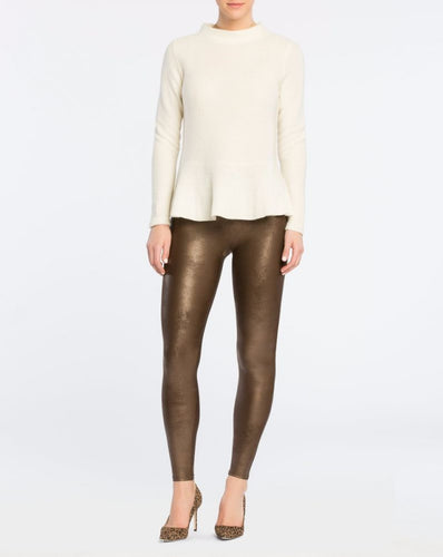 Bronze Metal Faux Leather Spanx Leggings