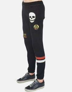 Black Stud Skull Riot Sweat Pants