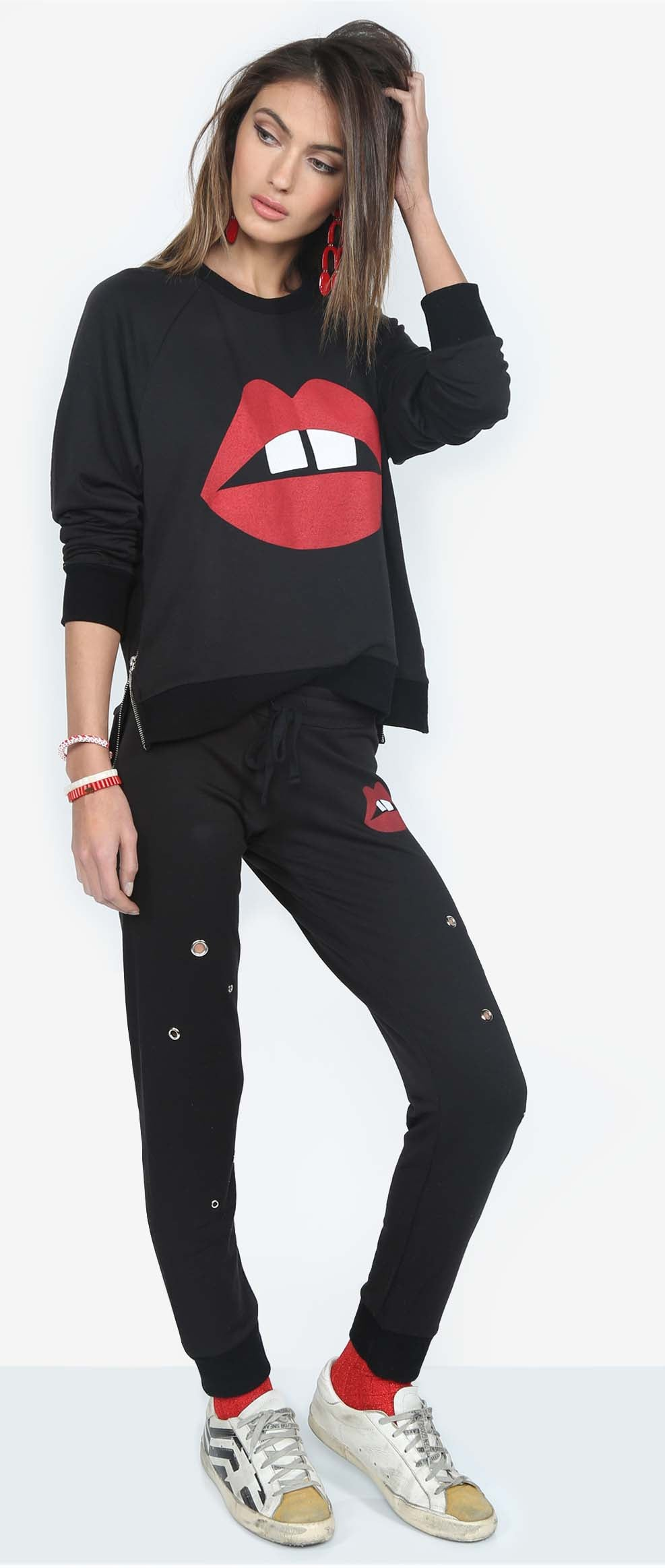 Jess Black Lounge Sweats with Gap Mouth Graphic and Silver Grommets