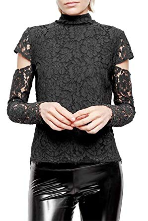 Ivy Black Lace Mock Neck Blouse