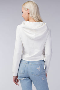 White Hoodie with Side Laces