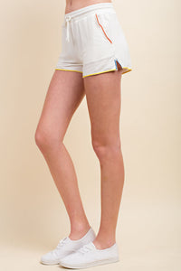 White Drawstring Shorts with Colour Piping