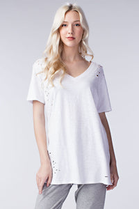 Distressed White Long V Neck Tee