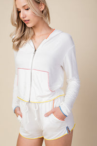 White Zip Up Hoodie with Colored Piping