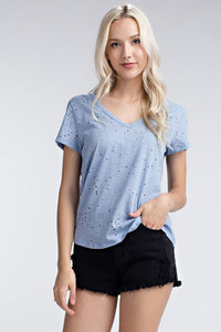 Slate Distressed V Neck Tee