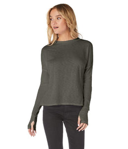 Long Sleeve Mock Neck Top with Thumb Holes