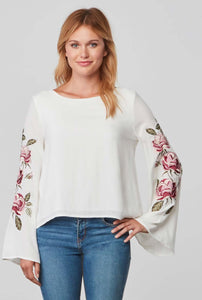 Aldona Ivory Blouse with Floral Details