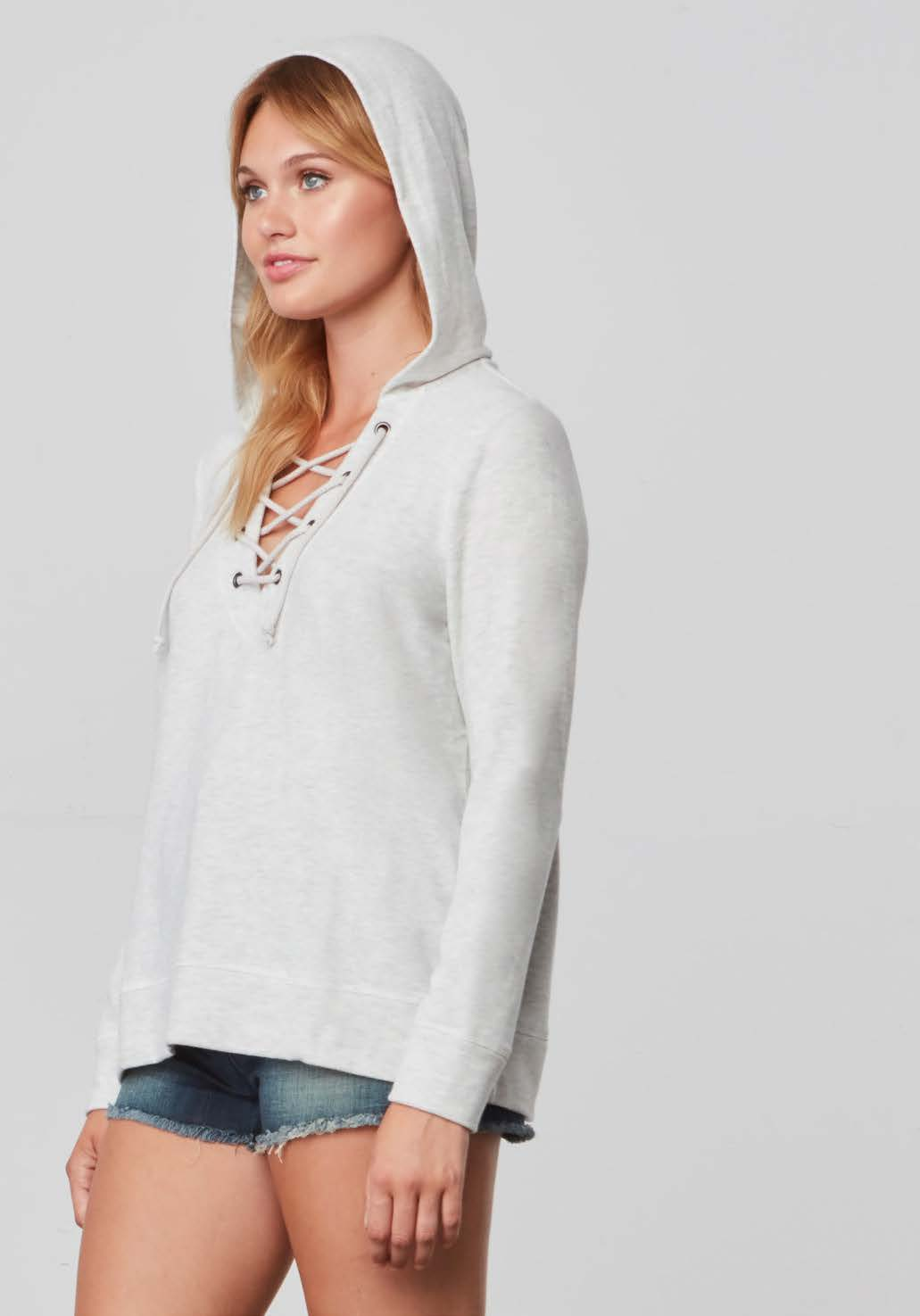 Asbretta Heather Ash Laceup Pullover Hoodie