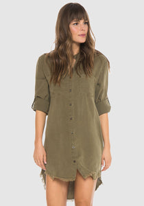 Burnt Olive Western Yoke Dress