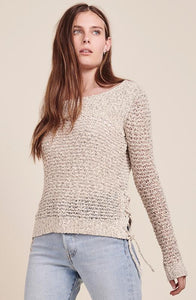 Judd Oatmeal Laceup Sweater