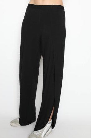 Whitney Black Bamboo Jersey Pants with side Slits
