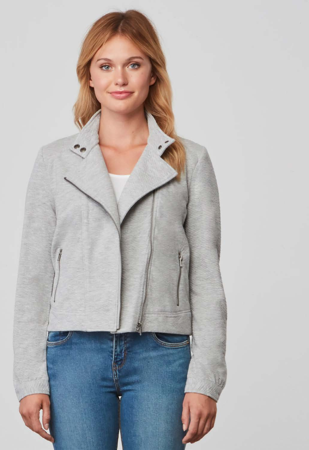 Galice Light Heather Grey Moto Jacket