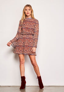 Malory Cognac Printed Dress