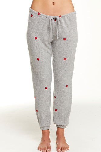 Heather Grey Tiny Hearts Slouchy Pant