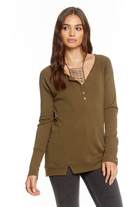 Ribbed Long Sleeve Vent Back Sporty Henley