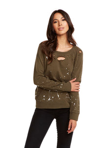 Splatter Stud Destroyed Fleece Pullover