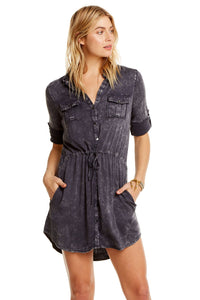 Roll Sleeve Buttondown Shirt Dress
