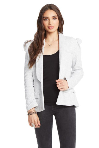 Heather Grey Fleece Puff Sleeve Blazer