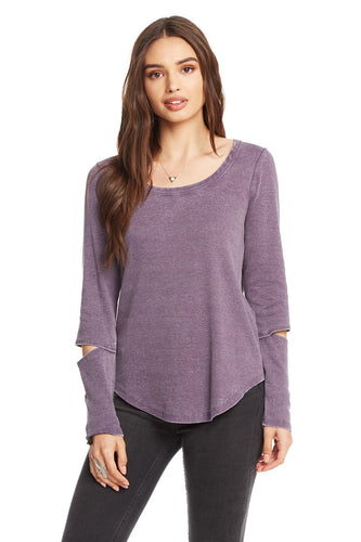 Amethyst Vintage Ribbed Vented Long Sleeve Tee