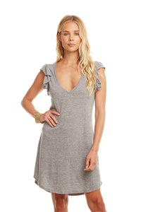 Flutter Sleeve V Neck Dress