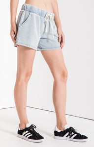 Dusty Blue Knit Denim Shorts
