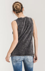 Washed Black Cotton Muscle Tank