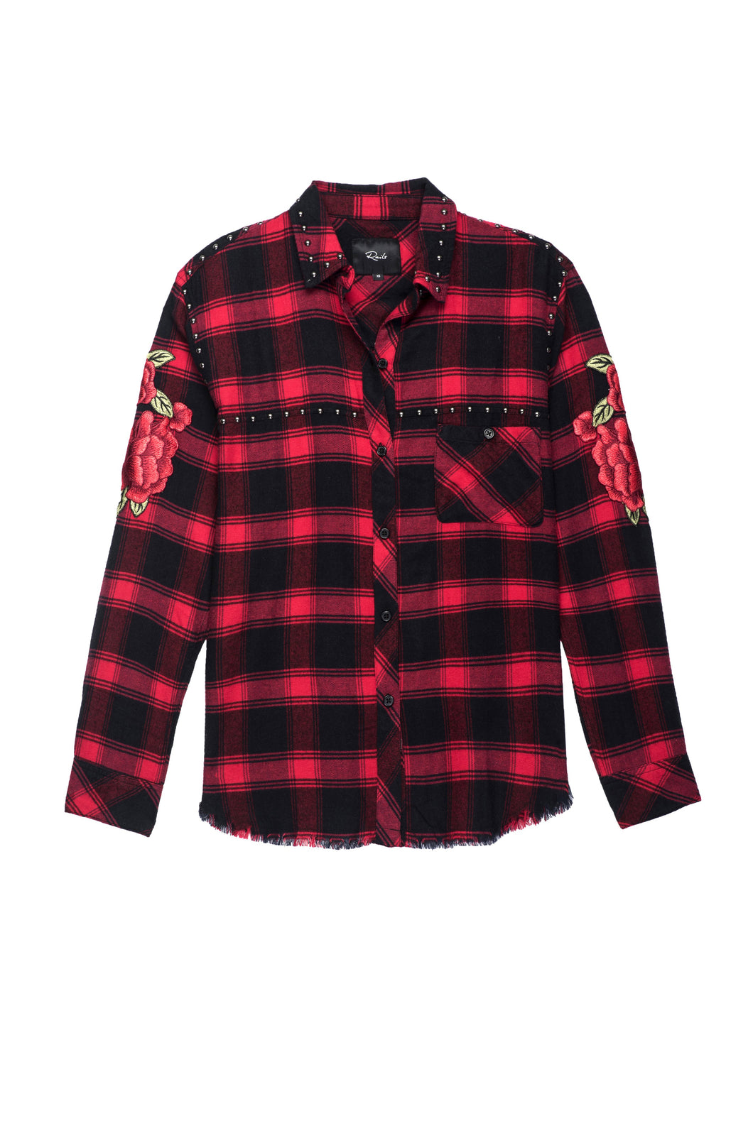 Teagan Red Cherry Patch Plaid Button Down