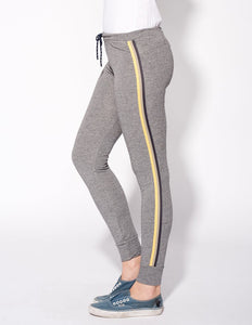 Heather Grey Skinny Sweatpants with Sport Stripes