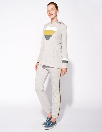 Heather Grey Bell Sleeve Heart Pullover