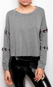 Lois Charcoal Lace Up Sweatshirt